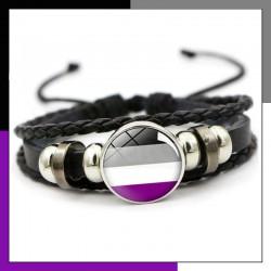 Bracelet Asexuel cuir et verre