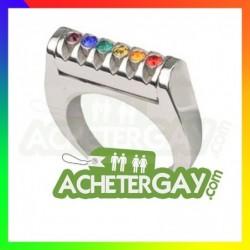 Bague en acier inoxydable  avec pierres rainbow