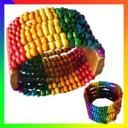 Bracelet Perle Rainbow  Bois