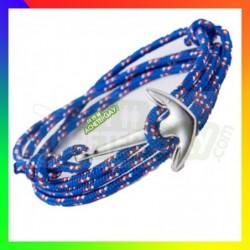 Bracelet nylon Ancre bleu vif