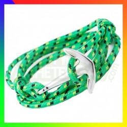 Bracelet nylon Ancre vert