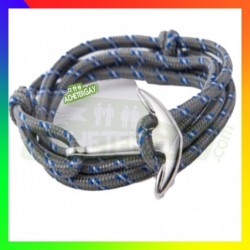Bracelet nylon Ancre gris