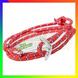 Bracelet nylon Ancre rouge