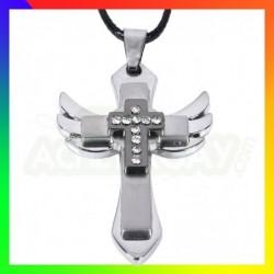 collier acier croix ange
