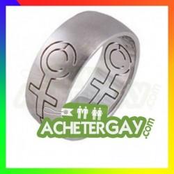 Bague en acier inoxydable pour femme lesbienne